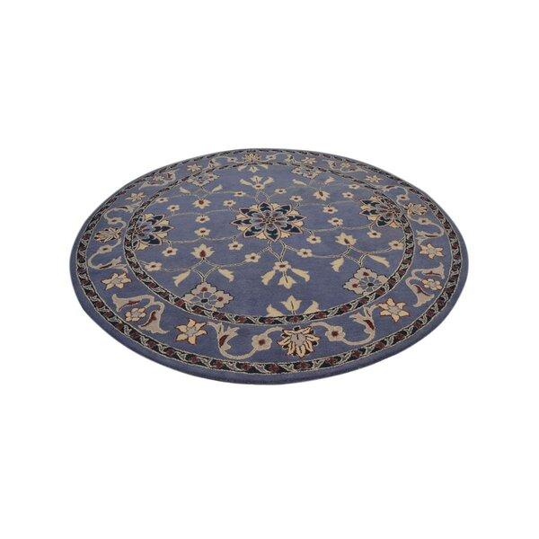 Jauss Light Blue Round Kashan Agra Oriental Pink Area Rug by Darby Home Co