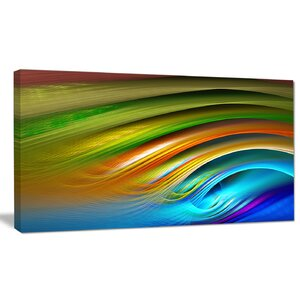 Designart 'Colorful Fractal Water Ripples' Abstract Wall Art on Canvas by Design Art