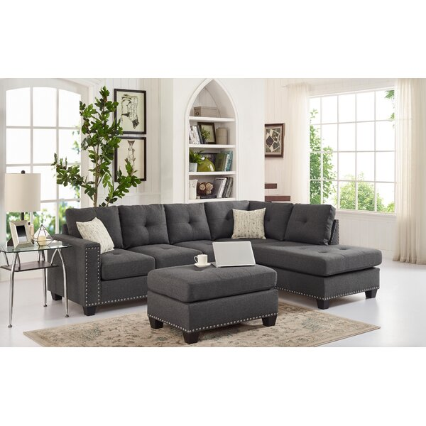 #2 Menendez Reversible Sectional With Ottoman By Latitude Run New