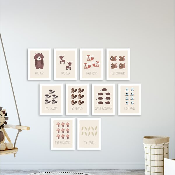 Rohini 10 Piece Woodland Animals Counting Cards Paper Print Set by Harriet Bee
