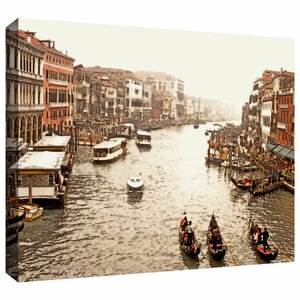 '3 Gondolas - Venice' by Linda Parker Photographic Print on Wrapped Canvas by ArtWall