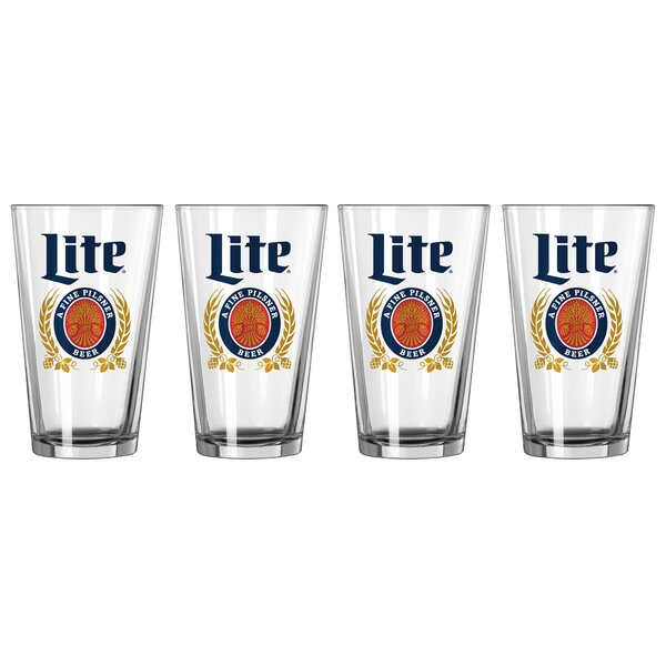 Miller Lite 16 Oz. Glass Pint Glasses (Set of 4) by Boelter Brands