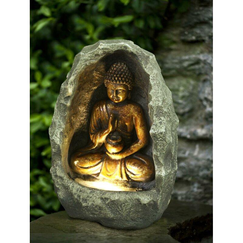 Hi Line Gift Ltd Fiber And Resin Golden Buddha Fountain With Led Light Reviews Wayfair