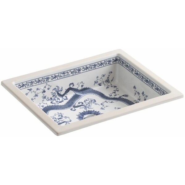 Imperial Blue design on Kathryn Ceramic Rectangular Undermount Bathroom Sink by Kohler