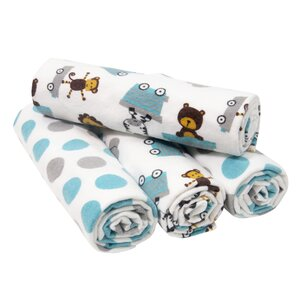 Choo Choo 4 Piece Flannel Blanket