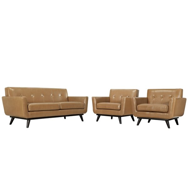 Saginaw Leather 3 Piece Living Room Set by Corriga