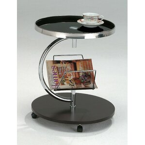 Black Glass End Table With Magazine Rack And Wheels