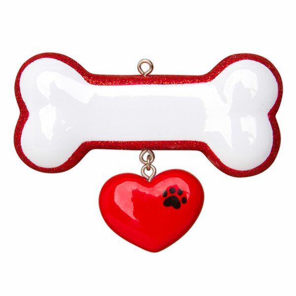 Pets Dog Bone with Ribbon Shaped Ornament by Personalized by Santa