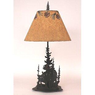 Moose lamps wayfair graciela moose and feather tree 33 table lamp aloadofball Choice Image