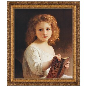 The Story Book, 1877 by William Adolphe Bouguereau Framed Painting Print by Design Toscano