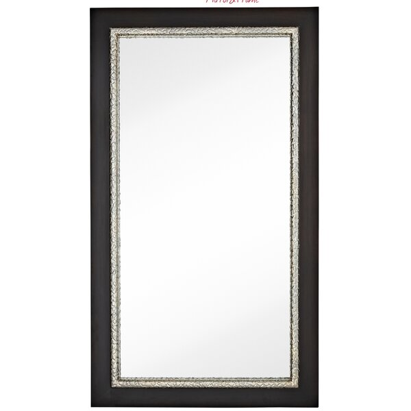 Large Simple Rectangular Warm Dark Brown Wood Framed Wall Mirror by Majestic Mirror
