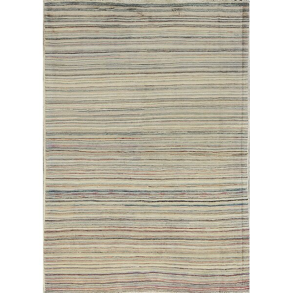 One-of-a-Kind Multi Horizontal Hand-Knotted Wool Light Gray Area Rug by Bokara Rug Co., Inc.