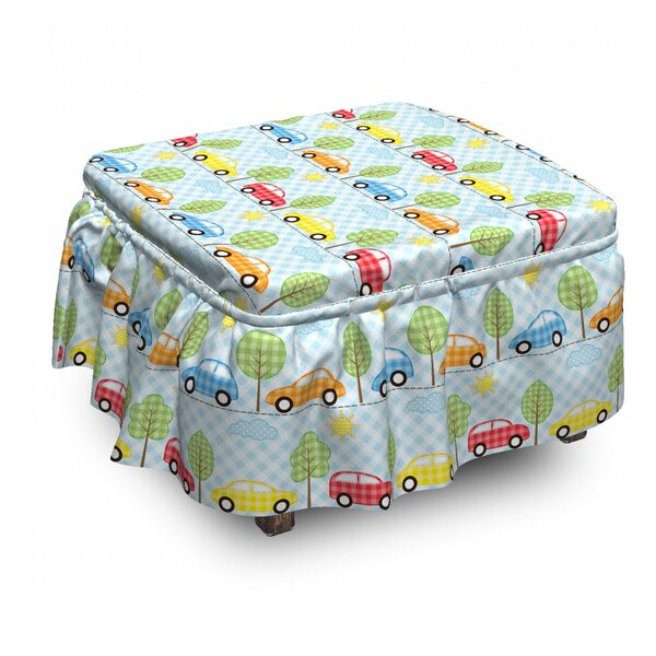 Baby Checkered Cars 2 Piece Box Cushion Ottoman Slipcover Set By East Urban Home