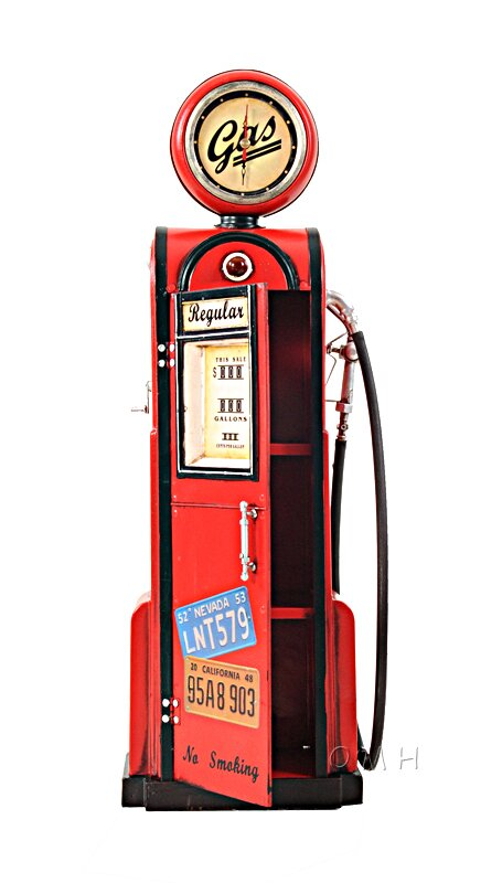 "A picture of ""Decorative Gas Pump with Clock 1:4 from old modern handicraft"""