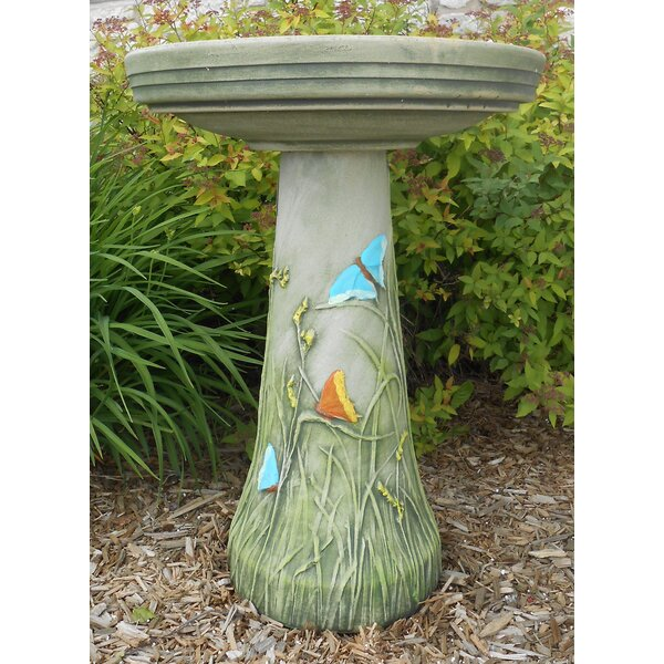 Burley Clay Handpainted Butterfly Birdbath by Birds Choice
