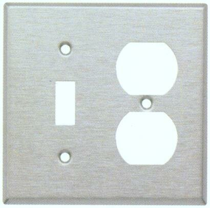 Two Gang / Duplex and Toggle Metal Wall Plates in Stainless by Morris Products