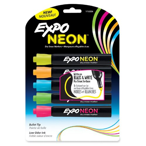 Expo Neon Dry Erase Marker, 5 Per Pack by Sanford