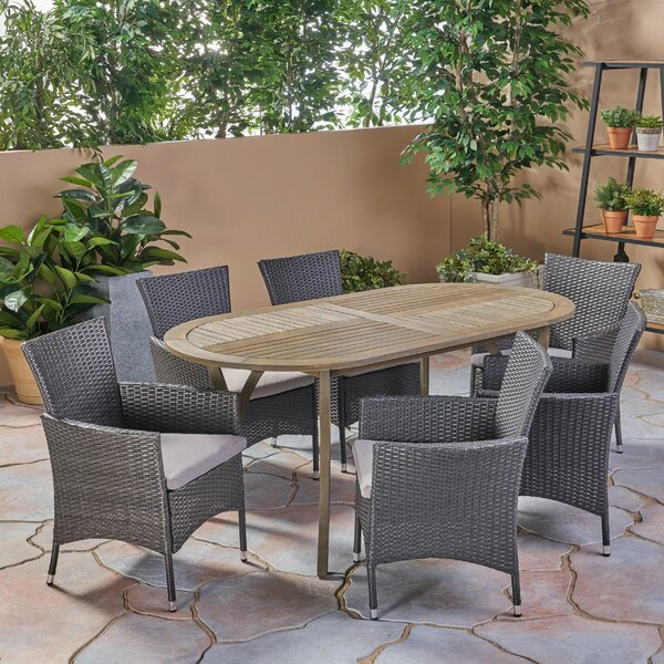 Haiden Outdoor 7 Piece Dining Set with Cushions by Bungalow Rose