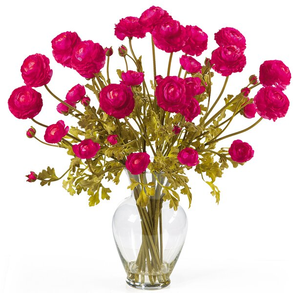 Silk Ranunculus Arrangement in Beauty Pink by Darby Home Co