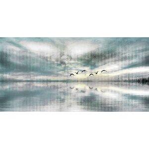 'Birds Skylight' by Parvez Taj Painting Print on Wrapped Canvas by Beachcrest Home