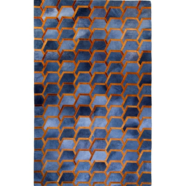 Houghton-le-Spring Hand-Woven Cowhide Charcoal/Blue Area Rug by Brayden Studio