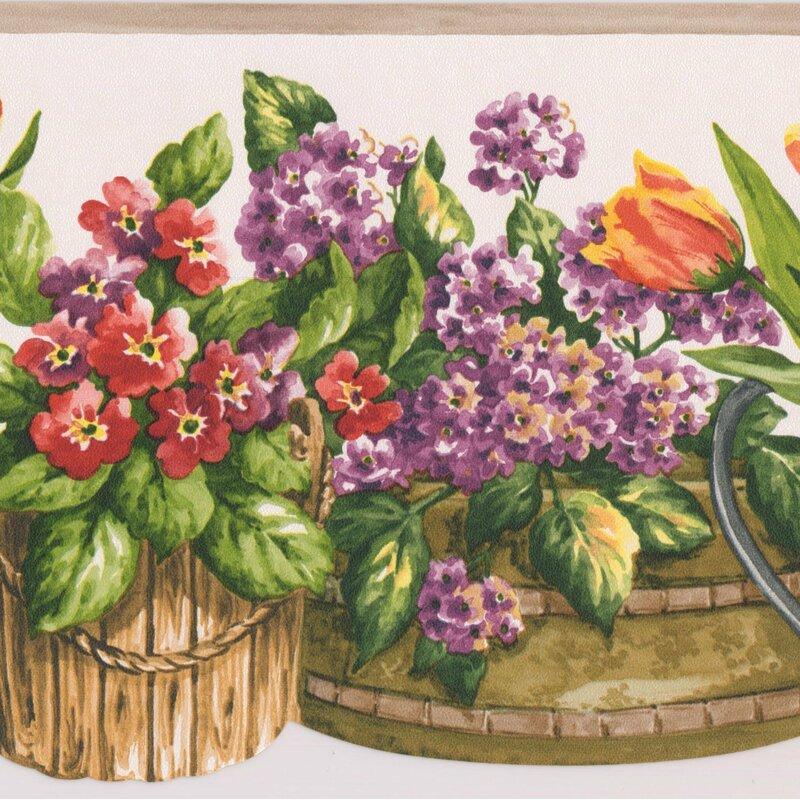 International Wallcovering Flowers In Baskets  Wallpaper Border