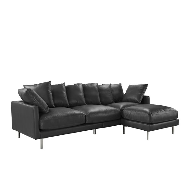 Gaillarde Leather Reversible Modular Sectional with Ottoman by Latitude Run