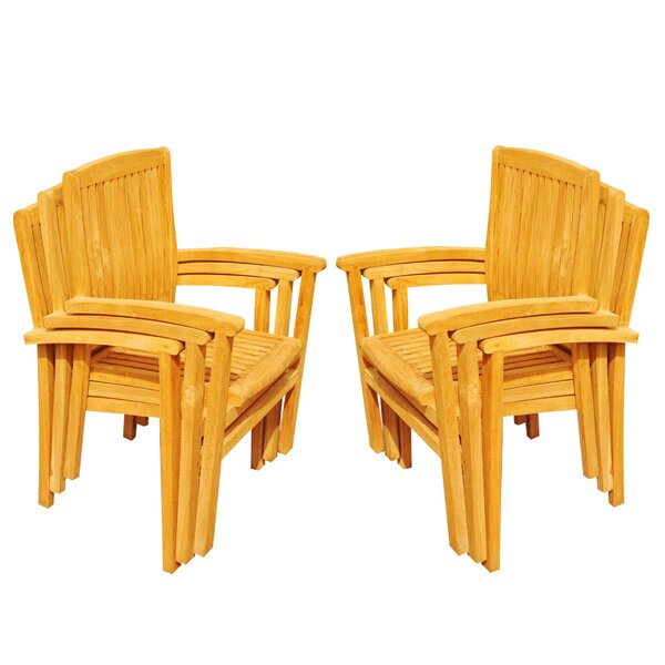Wave Stacking Teak Patio Dining Chair (Set of 6) by Teak Smith