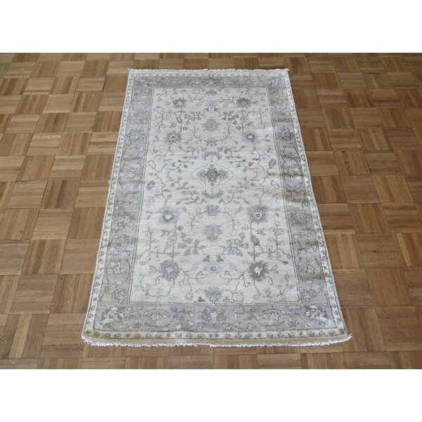 One-of-a-Kind Broadhurst Oushak Hand-Knotted Silk Ivory/Gray Area Rug by Isabelline