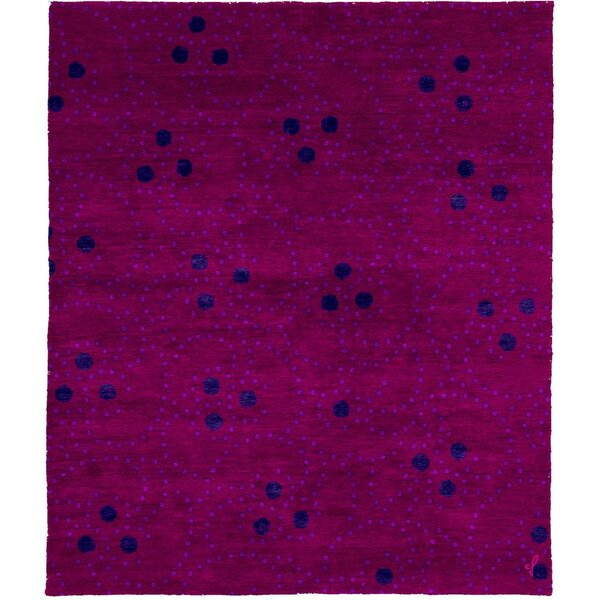 One-of-a-Kind Lurdes Hand-Knotted Tibetan Pink 8' Square Area Rug