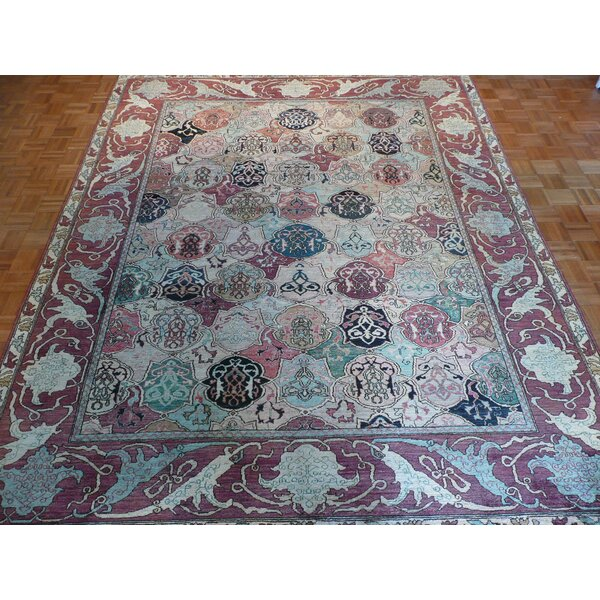 One-of-a-Kind Pellegrino Bachtiary Hand-Knotted Wool Green/Red Area Rug by Bloomsbury Market
