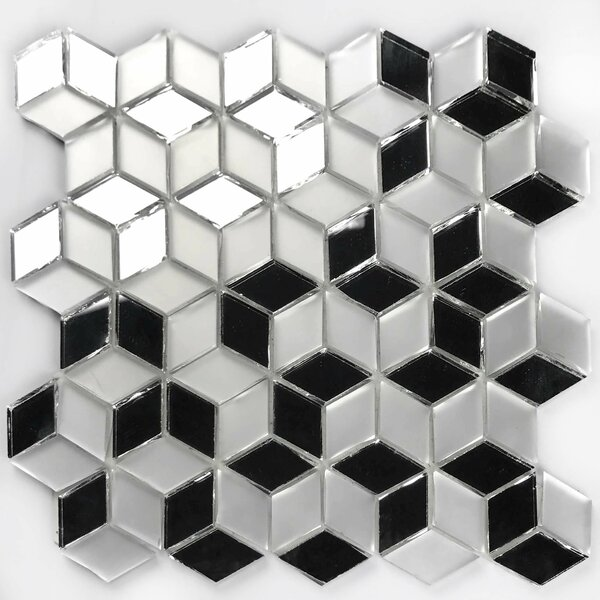 Musico 9.5 x 9.5 Glass Peel & Stick Mosaic Tile in Silver by Abolos