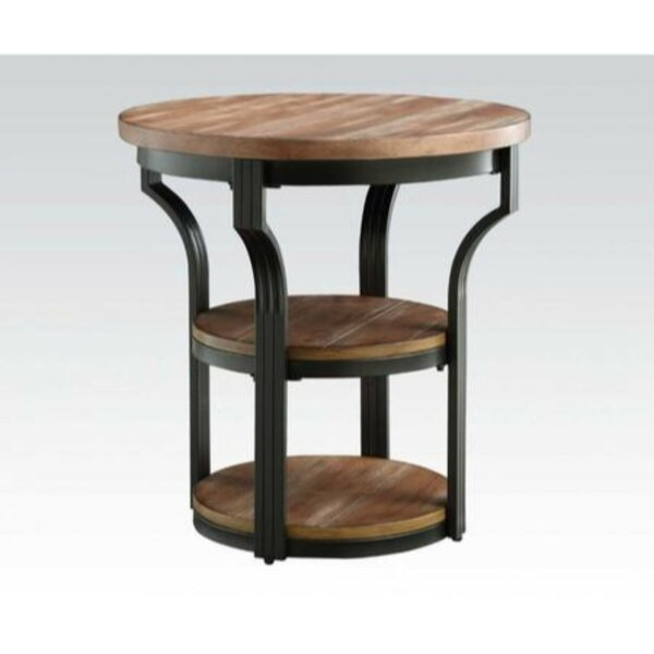 Brasher Round Metal Framed End Table by Williston Forge