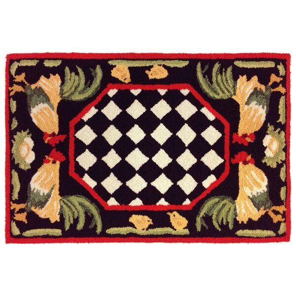 Treport Rooster Handmade Black Indoor/Outdoor Area Rug by August Grove
