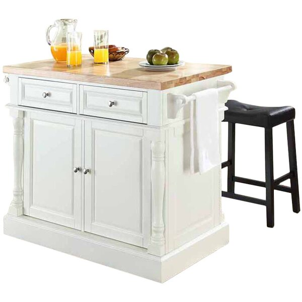 Haslingden 3 Piece Kitchen Island Set with Butcher Block Top by Three Posts
