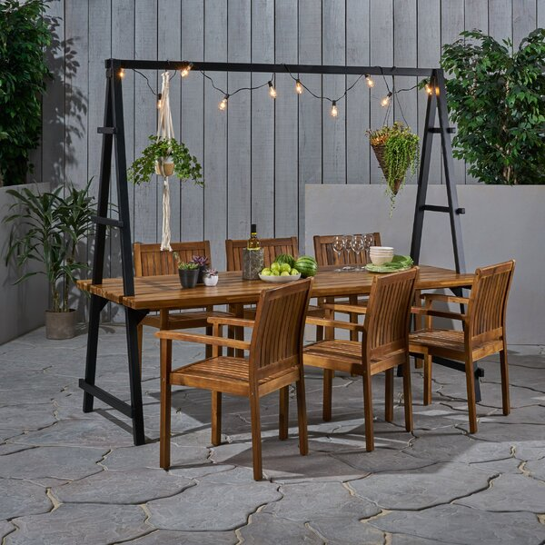 Stelly Outdoor Acacia Wood and Iron Planter 7 Piece Dining Set by Highland Dunes