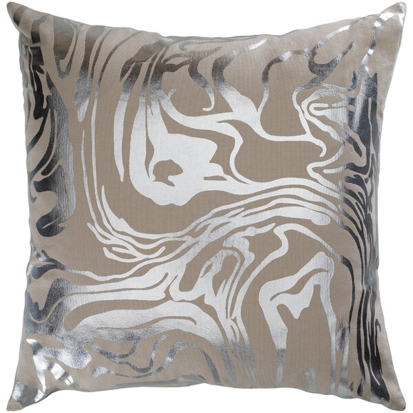 Crescent Khaki Modern Cotton Throw Pillow by Surya