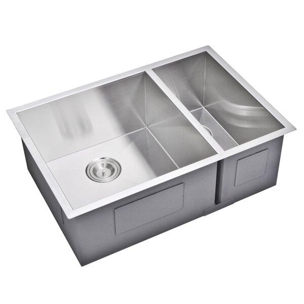 29 L x 20 W Double Basin Undermount Kitchen Sink with Basket Strainer by dCOR design