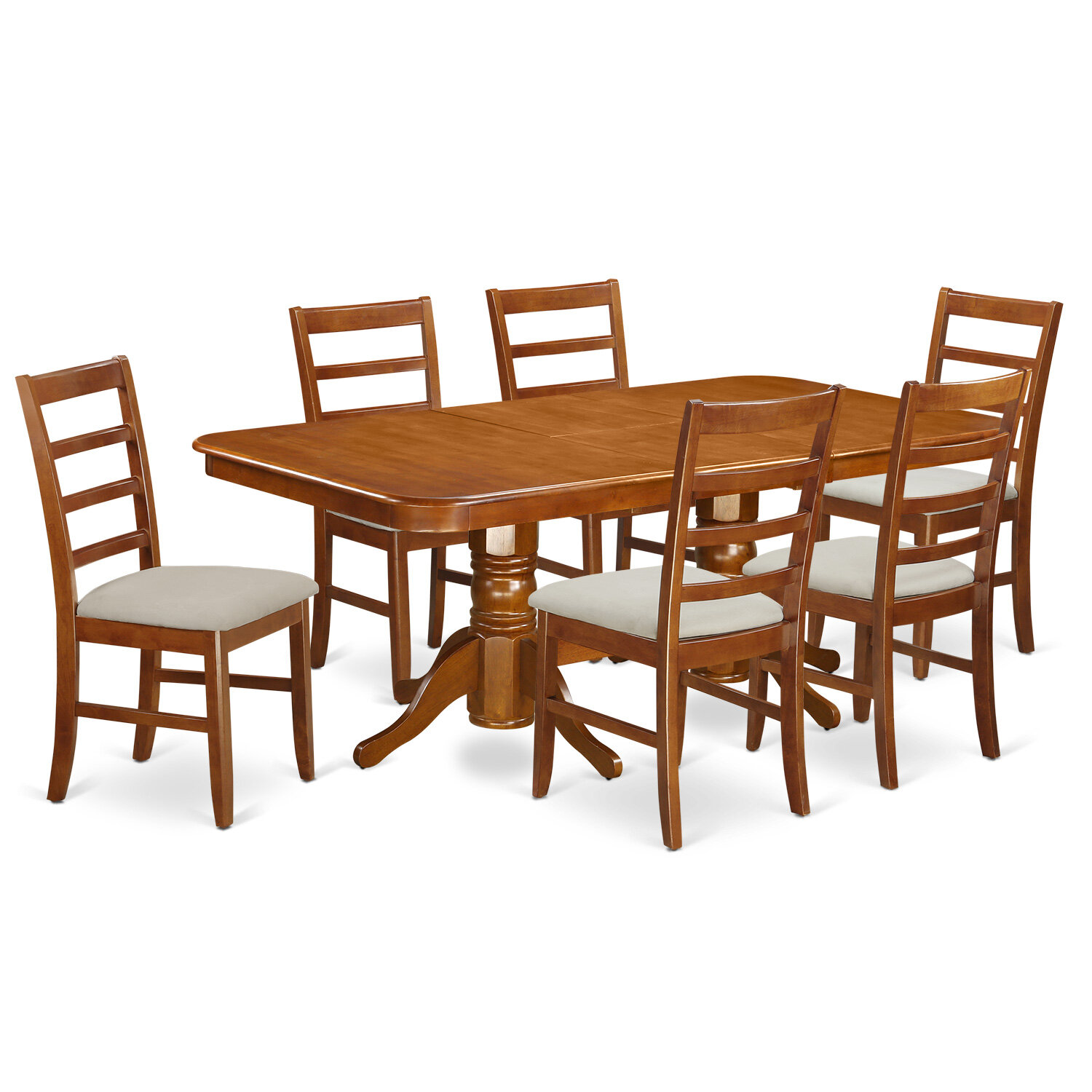 August Grove Pillsbury 7 Piece Wood Dining Set With Double Pedestal Table Legs Wayfair