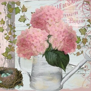 Chalet d'ete Hydrangea Graphic Art on Wrapped Canvas by Lark Manor