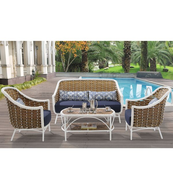 Cowgill4 Piece Sofa Set with Cushions by Rosecliff Heights