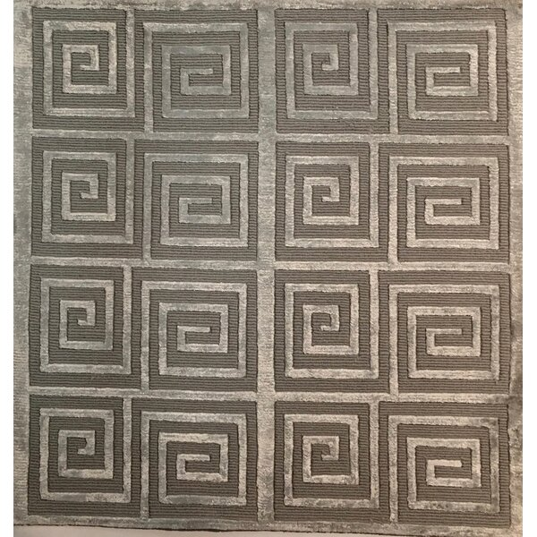 Greek Key Greco Hand-Knotted Silver Area Rug by Exquisite Rugs