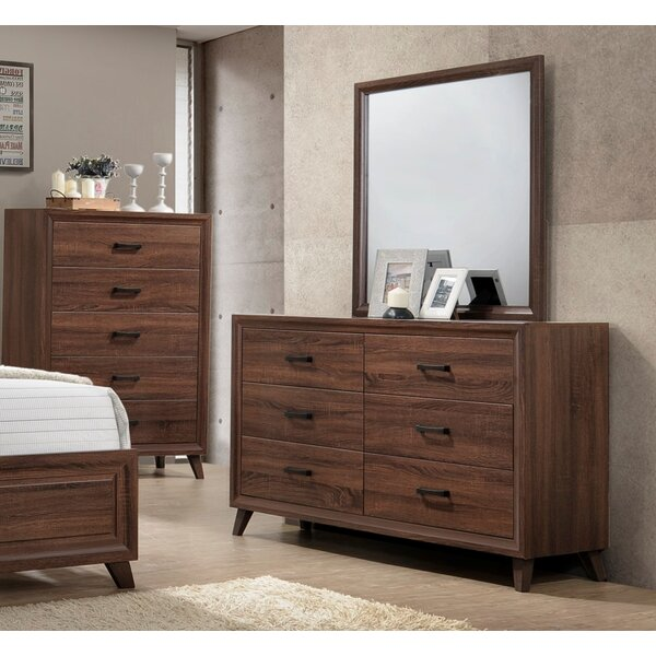 Lusk 6 Drawer Double Dresser with Mirror by Union Rustic