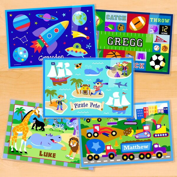 Boys 5 Piece Personalized Placemat Set by Olive Kids