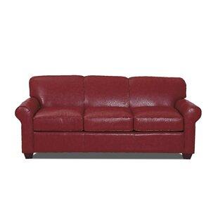 Weston Red Leather Sofa   Wayfair