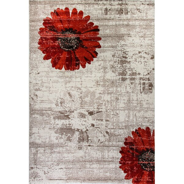 Martin Ivory/Red Area Rug by Ebern Designs