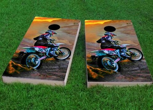 Riding Dirtbikes Cornhole Game (Set of 2) by Custom Cornhole Boards
