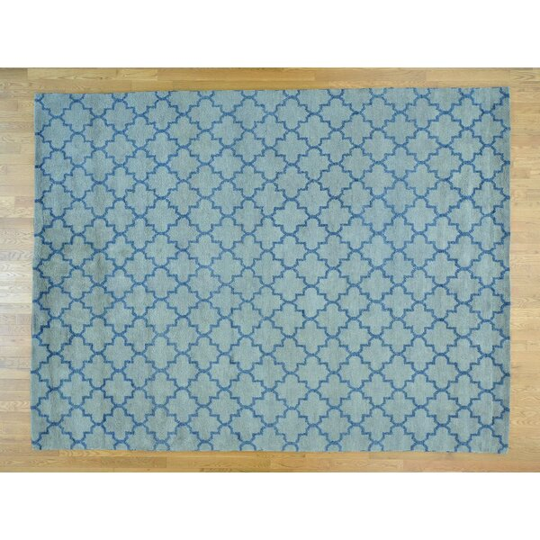 One-of-a-Kind Beard Plush Handwoven Blue Wool Area Rug by Isabelline