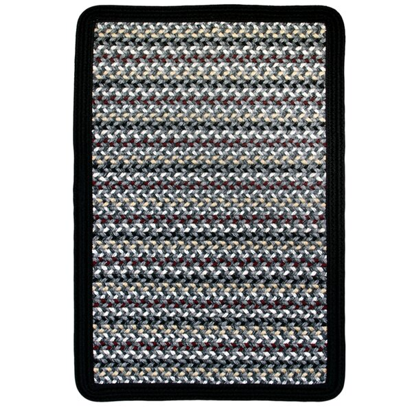 Vineyard Haven Harbor Fog/Solid Black Indoor/Outdoor Area Rug by Thorndike Mills
