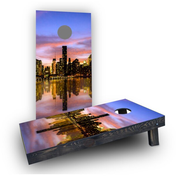 New York City at Sunset Cornhole Boards (Set of 2) by Custom Cornhole Boards